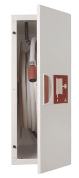 Brannslangetrommel i skap ved begrenset veggplass