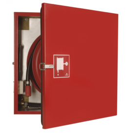 Fire Hose Reel in insulated/heated Cabinet - Outdoors