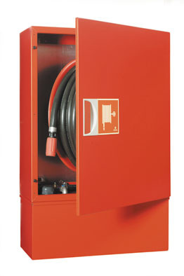 Fire Hose Reel w/ fixed foam tank in cabinet